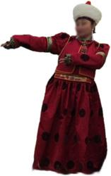 Бурятский женский дэгыл бардового цвета из монгольского шелка.
